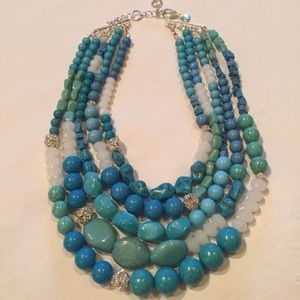 Chico's Chunky Statement Necklace NWOT Turquoise.